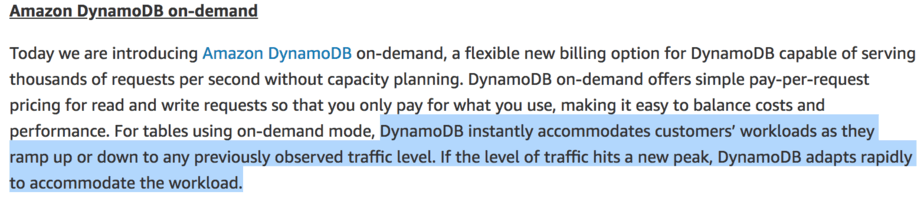 Understanding the scaling behaviour of DynamoDB OnDemand tables